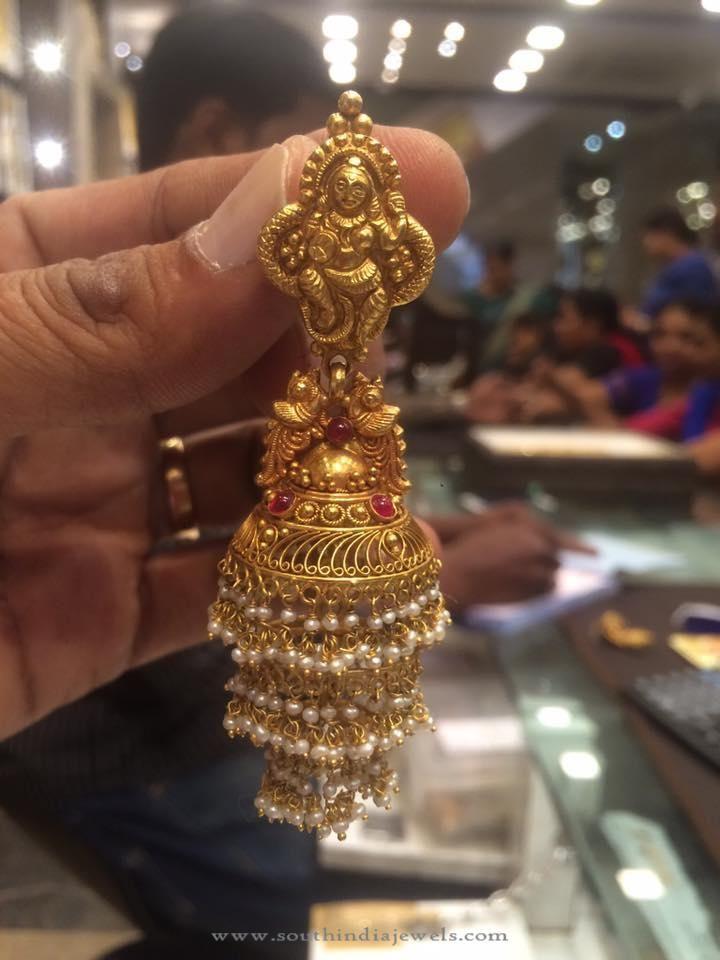 Gold Layered Jhumka Designs, Big Jhumka Designs, Gold Jhumka Designs with…