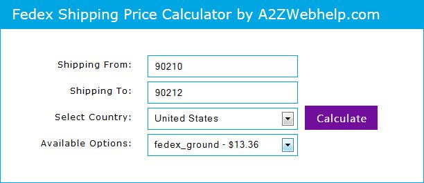 FedEx Shipping Price calculator in PHP