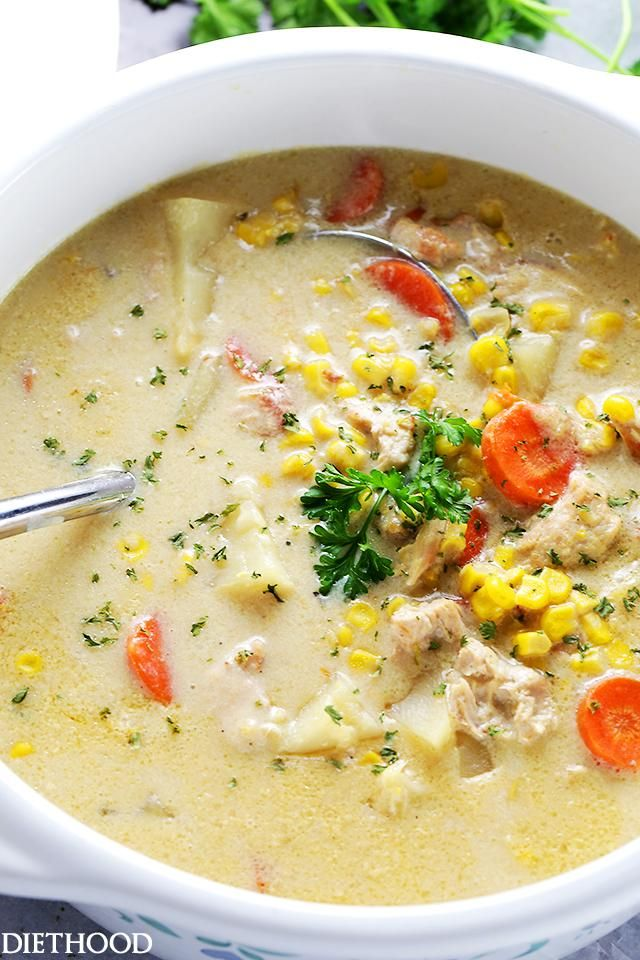 Turkey Corn Chowder – One pot and 30 minutes is all you will need to make this delicious and hearty, quick-cooking chowder, loaded with turkey and cor