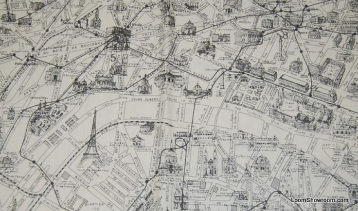 Paris Architecture Street Map Vintage Etchings France Map Vintage - Paris map fabric