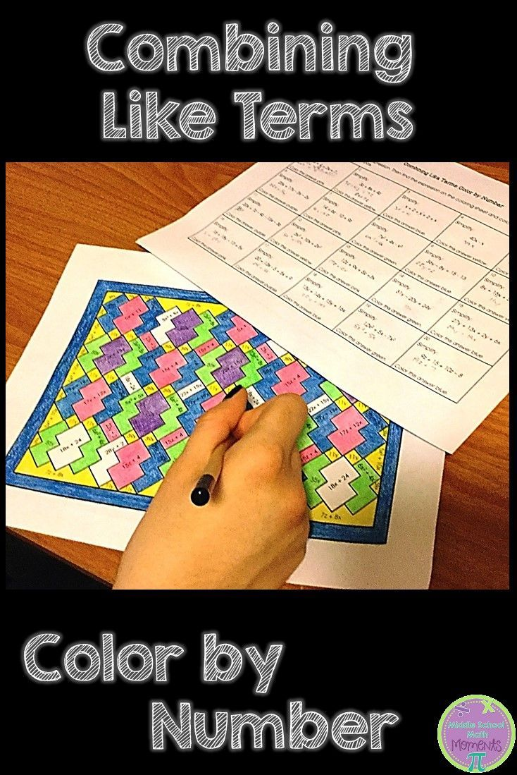 Your middle school math students will love this colorful practice activity for combining like terms!