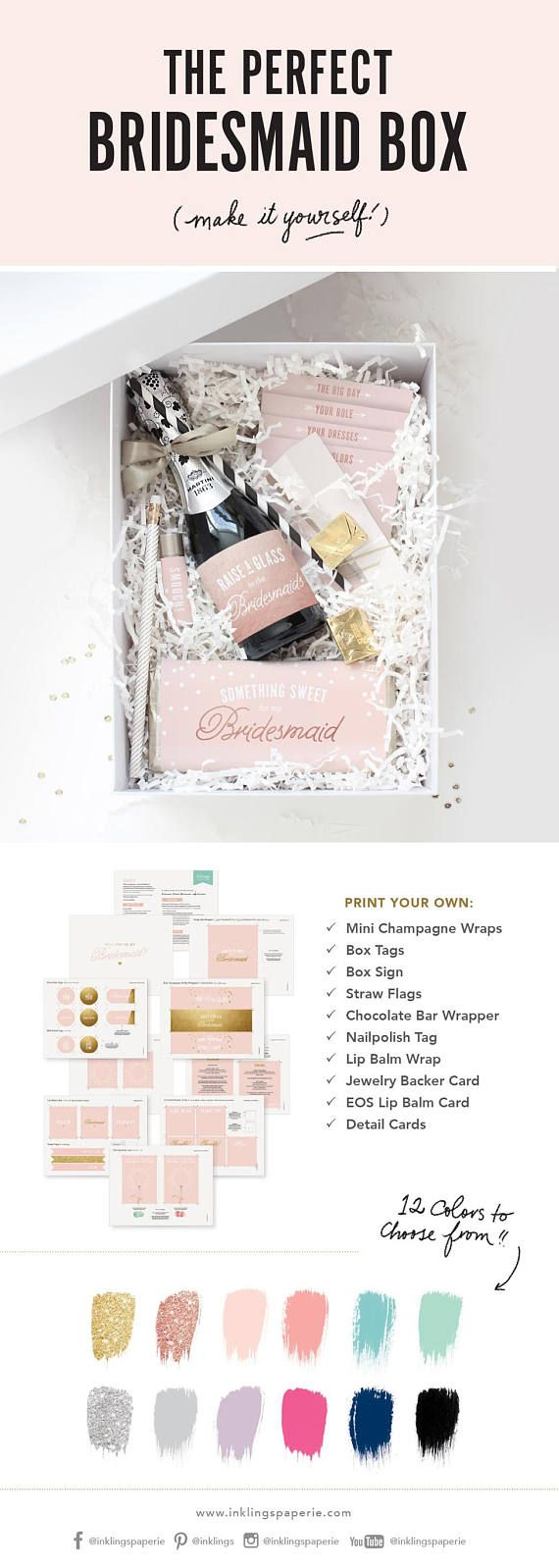 So cute!! The perfect DIY Bridesmaid Box, with printables from Inklings Paperie! Just download and print from home. #bemybridesmaid #bridesmaidproposal #bridesmaidbox #bridesmaids #bridesmaid #moh #Printable