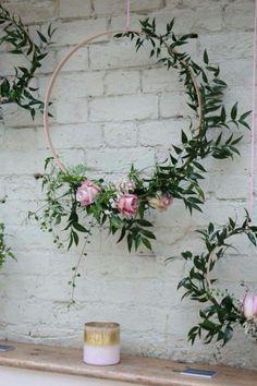impressionante conjunto de 3 aros de madeira grinalda / decoração de casamento / decoração de casamento / boho / peça de parede floral berçário / flor   – Dekoration Hochzeit