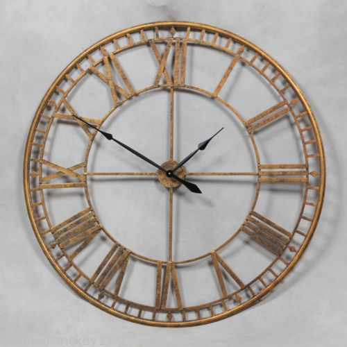 EXTRA LARGE ANTIQUE GOLD ROUND SKELETON WALL CLOCK 120 cm