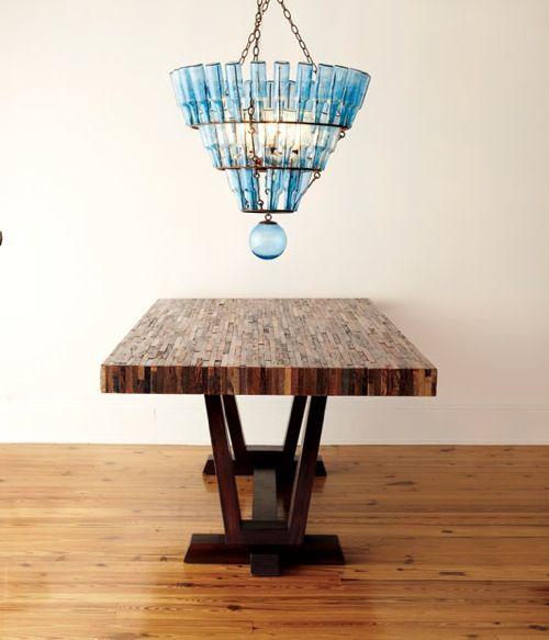 Arteriors Home blue glass chandelier