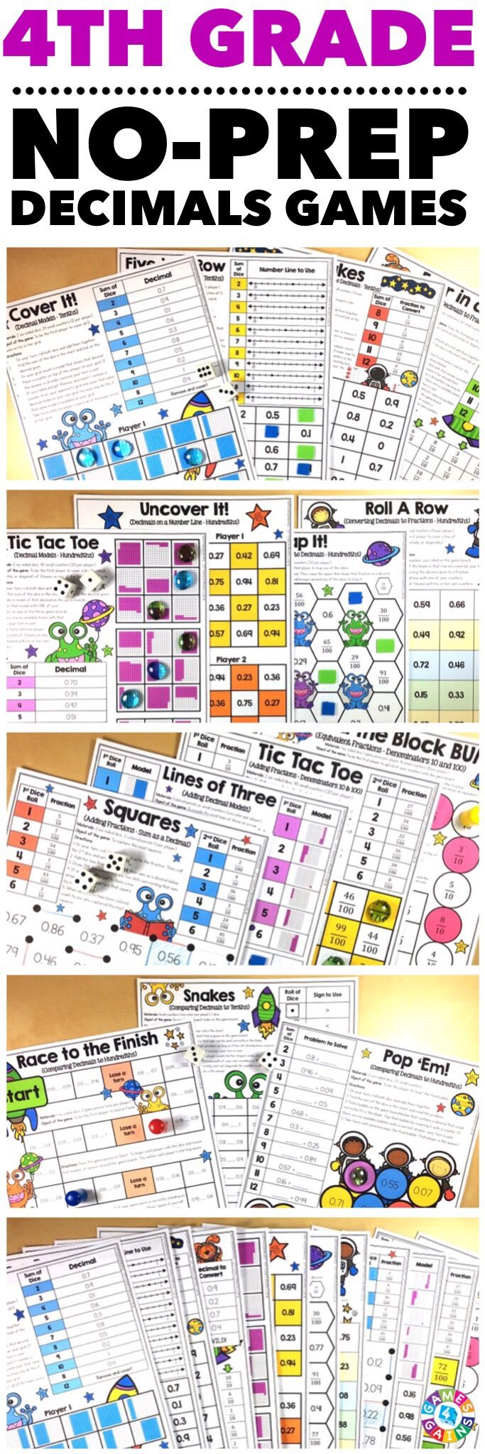 """Kids are LOVING these games during rotation time to reinforce standards."" This 4th Grade Decimals Games Pack includes 15 differentiated games for practicing converting fractions to decimals, equivalent fractions and decimals, writing decimals to hundredths, adding fractions with denominators of 10 and 100 and expressing their answer as a decimal, and comparing decimals to hundredths. These games support the 4th grade CCSS decimal standards!"