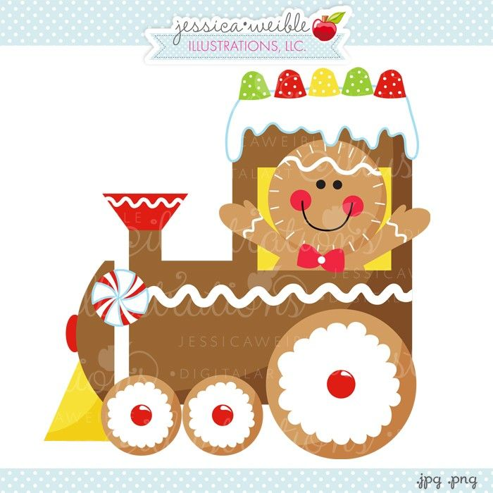 Gingerbread Train - JW Illustrations - cute gingerbread graphic #Christmas #clipart - A new FREE download every day!