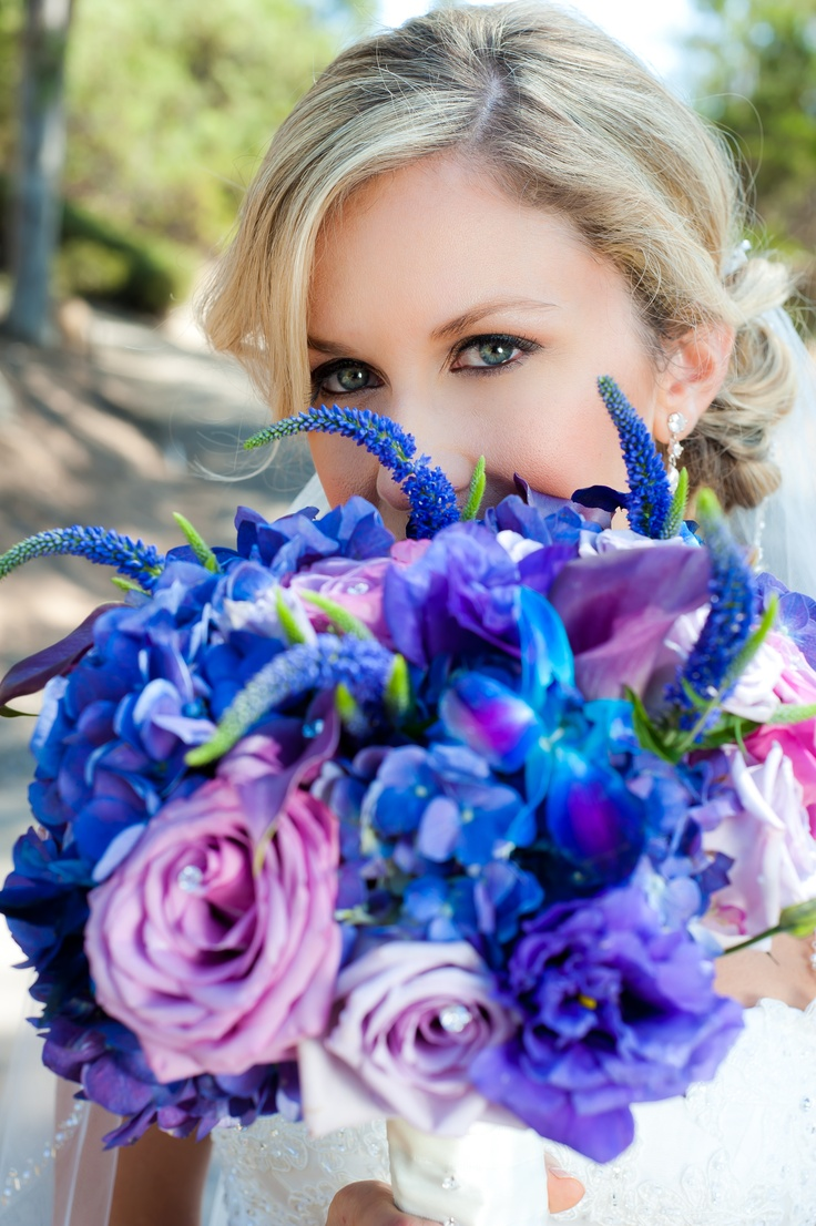Beautiful Bride Bouquet Or Mide Of Honor Bouquet. Blue And Purple Wedding  Theme Ideas