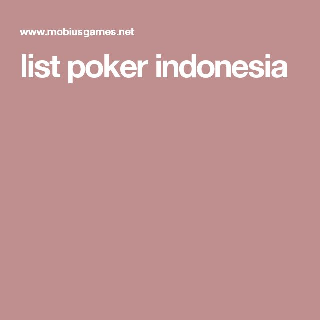 list poker indonesia