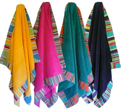 Bright Beach Holiday Bath Towels - thick luxury cotton (matching new style beach bags available) http://www.deckchairstripes.com/_product/_beach-bags-new-style/index.html