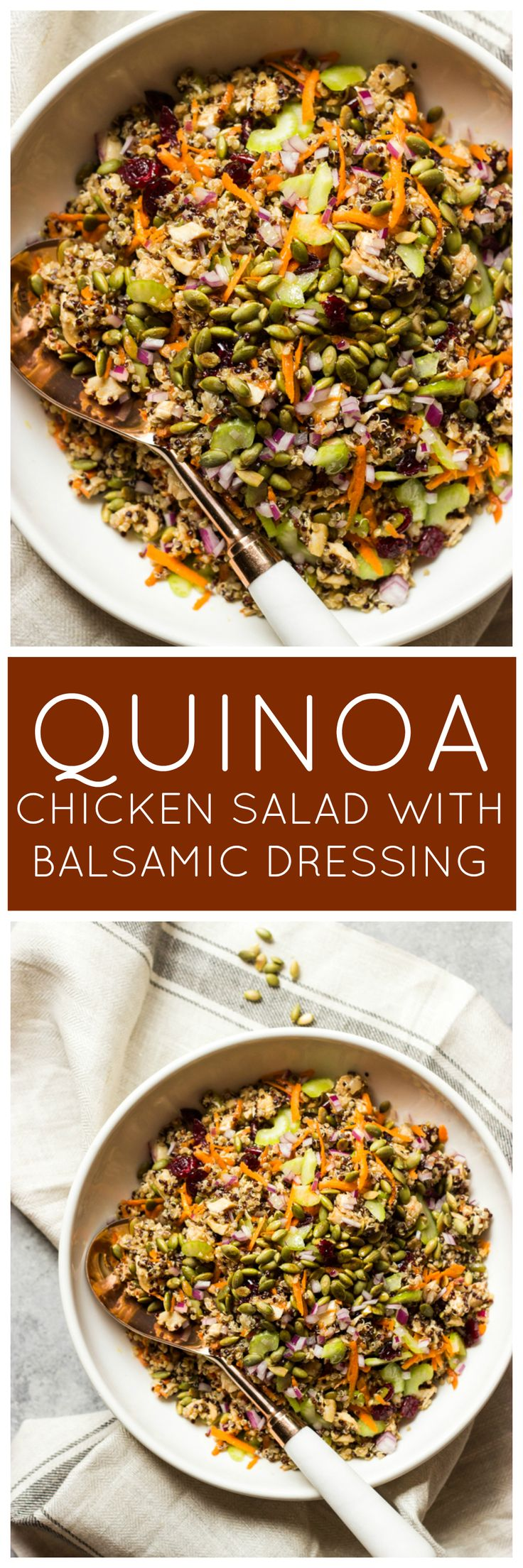 Chicken Quinoa Salad with Balsamic Dressing - ultimate fall salad with chicken, quinoa, crunchy veggies, cranberries, and pumpkin seeds | littlebroken.com @littlebroken