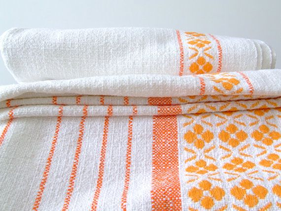 60s / 70s Scandinavian tablecloth  orange by thelittleblackhouse, $21.00