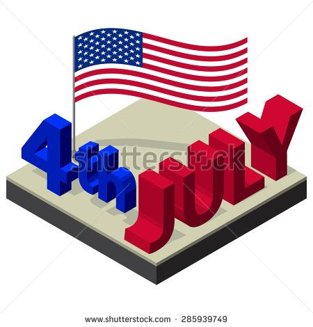 Isometric text 4-th of July and American national flag. Independence Day Vector Design July Fourth.