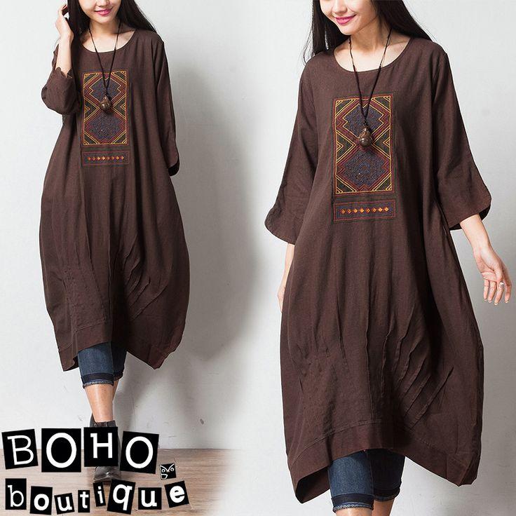 Платья : Свободное платье с вышивкой и защипами в стиле бохо