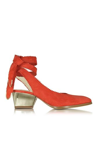 Zoe Lee Oberline Red Suede Ankle Wrap Shoe