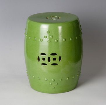 Ceramic Stool, Green - asian - ottomans and cubes - by Qing