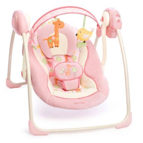 Bright Starts Hamaca-Columpio Portatil #Girafaloo. Columpio de la familia Comfort Harmony con la tecnología truespeed que mantiene la misma velocidad sin depender del peso del niño.