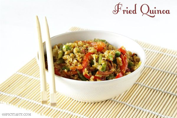 Fried Quinoa. Like fried rice except with quinoa. Try with green peas, carrots, and adding a scrambled egg. Also maybe cook quinoa in some broth for added flavor.