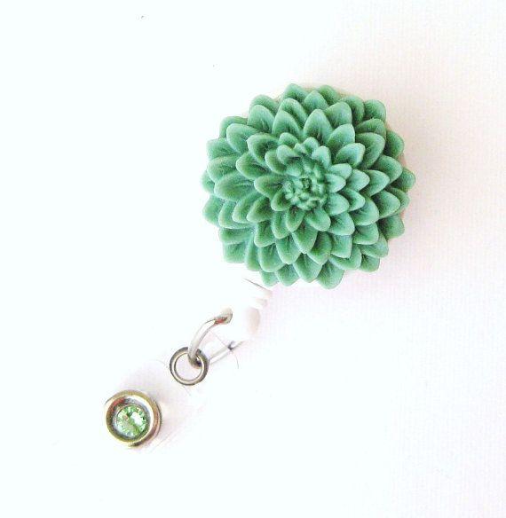 Sage Bisque - Flower ID Badge Holder - Flower Badge Reels - Designer ID Reel - Nurse Gifts - Pretty Name Badge Clips - BadgeBlooms