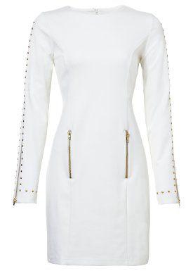 Vestido tubinho com tachas, branco