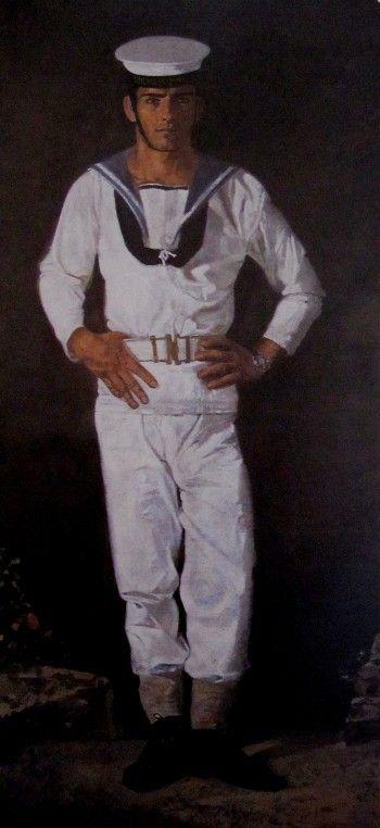 Ναύτης στον ήλιο, 1968-1970. Λάδι σε πανί, 220x100 εκ. (Ίδρυμα Γιάννη Τσαρούχη, 591)