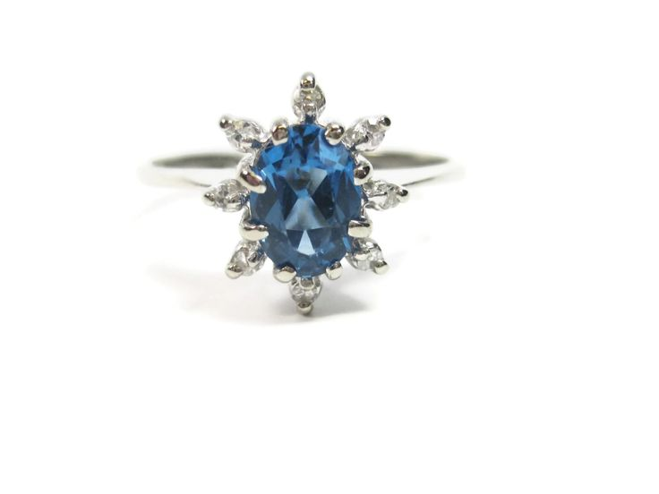 Vintage 14K Oval London Topaz and Diamond Cluster Ring Size 6.75 - pinned by pin4etsy.com