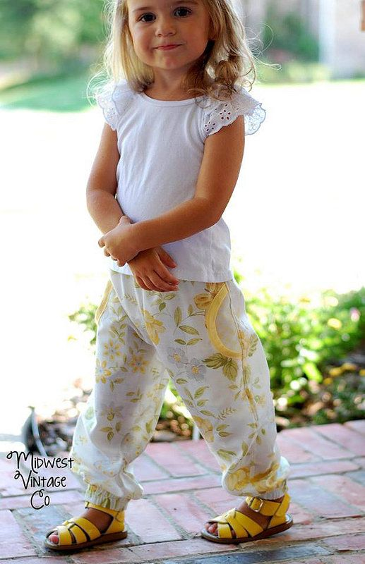 "Beautiful Girls' Harem Pants made with Peach Patterns ""Happy Pants"" pattern in vintage cotton (Image by Midwest Vintage Co)."