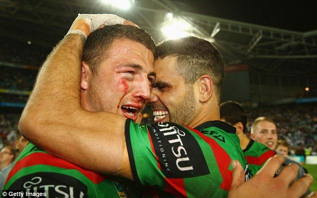 Sam Burgess (left) played on with a suspected broken cheekbone for South Sydney in the NR...