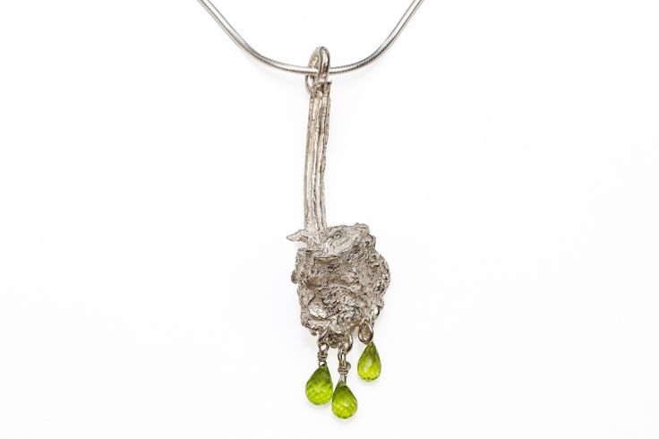 sterling Silver Stem Faceted Peridot Briolet Pendant