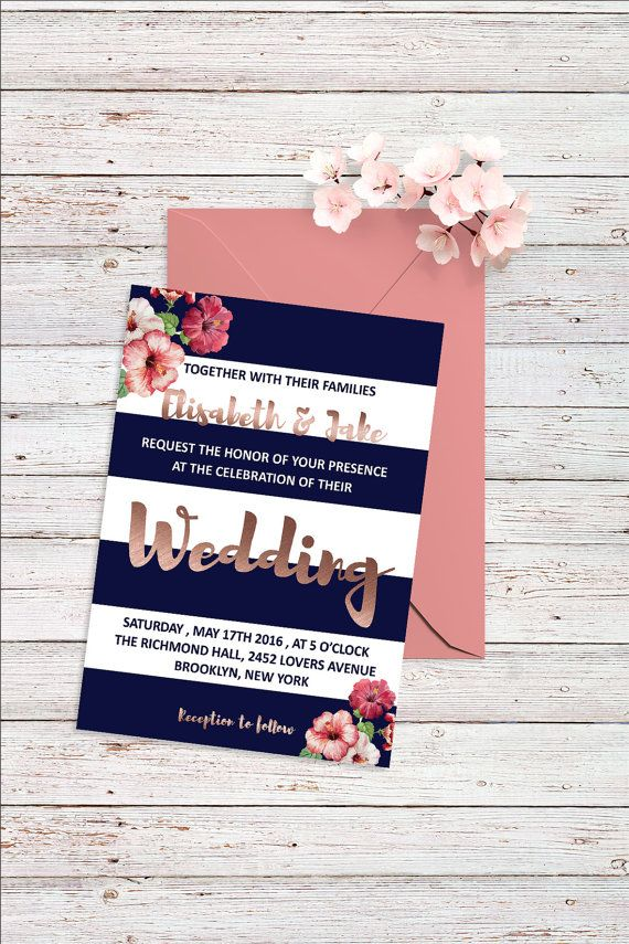 Rose Gold Wedding Invitation Set Printable Wedding Invitation