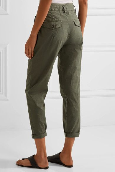 James Perse - Cropped Brushed Stretch-cotton Pants - Army green - 25