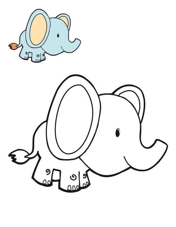 elephant coloring pages for preschoolers - photo#16