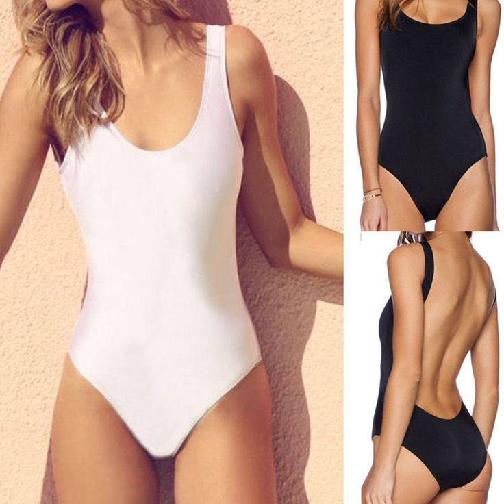 High Cut Women One Piece Bikini Monokini Swimsuit Padded Backless Swimwear BeachWear Bathing Suits Black White DC0396 #>=#>=#>=#>=#> Click on the pin to check out discount price, color, size, shipping, etc. Save and like it!