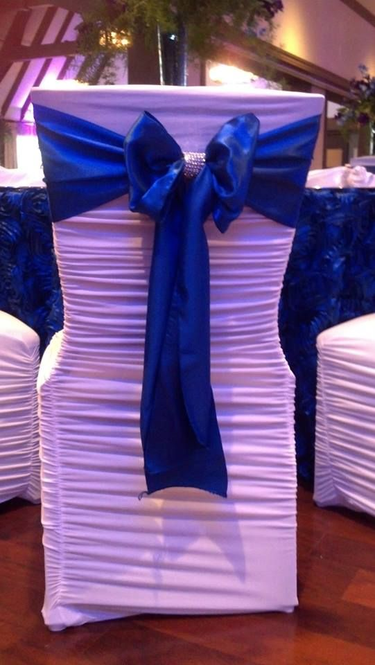 Perfect chair cover for weddings and receptions. Provided by Party Palace Wedding & Tent Rentals in Bloomington, IL.