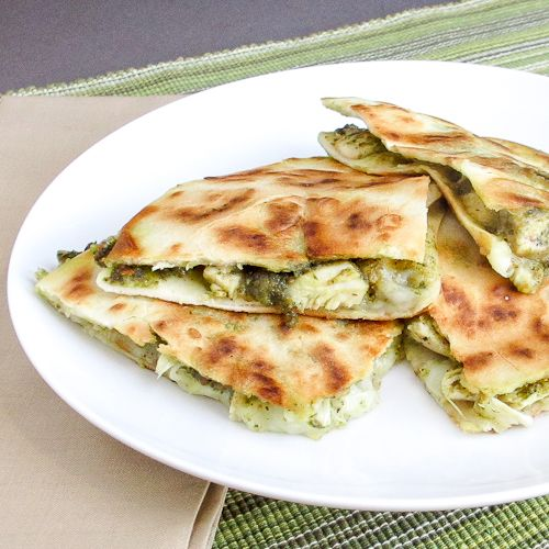 Made this for dinner and it was EXCELLENT! Chicken artichoke pesto quesadilla.