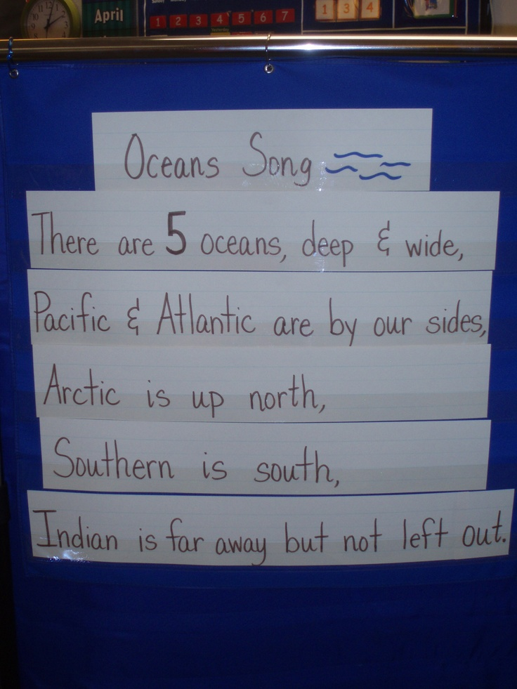 """Oceans Song (sing to the tune of """"I'm a Little Teapot"""") I like that it is up to date with all 5 oceans and old school with only 4..."""