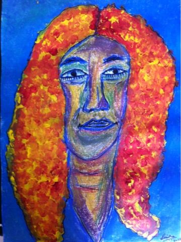 Innate Explorer: Self-portrait: Pastels, acrylic and markers on can...