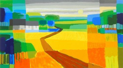 Ton Schulten - Goudgele Akkers - Grafiek. Geweldige warme kleuren. Geven een zomerse tint aan ieder interieur.