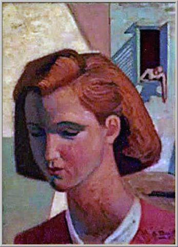 Mario Tozzi 1945: Ragazza. Olio su Tela cm.52x38 - Collezione Privata Rovereto - Archivio n.625 - Catalogo n.45/2.