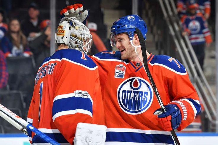 EDMONTON, AB - MARCH 25: Laurent Brossoit #1 and Oscar Klefbom #77 of the Edmonton Oilers celebrate after winning the game against the Colorado Avalanche on March 25, 2017 at Rogers Place in Edmonton, Alberta, Canada. (Photo by Andy Devlin/NHLI via Getty Images)
