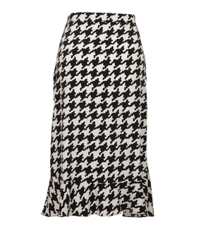 FLEUR B. SILK DOGTOOTH FRILL SKIRT- Black/White. Stretch silk skirt in dogtooth print with frilled hem. www.fleurb.co.uk
