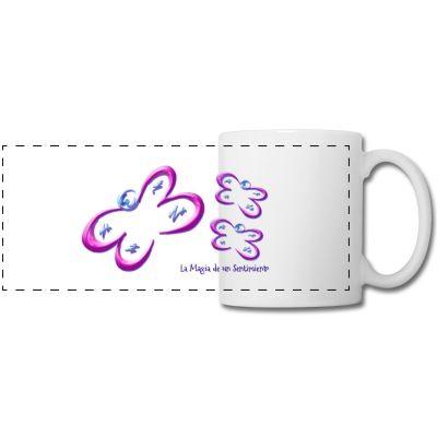 Taza Mariposas - Butterfly cup - #Shop #Gift #Tienda #Regalos #Diseño #Design #LaMagiaDeUnSentimiento #MagiaYColor #ElBosqueDeXana #MaderaYManchas #mariposa #butterfly #transformación #rosa #pink #taza #cup