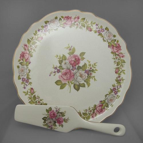 James Kent vintage cake plate and ceramic slicer, Harmony Rose, FREE post UK | eBay
