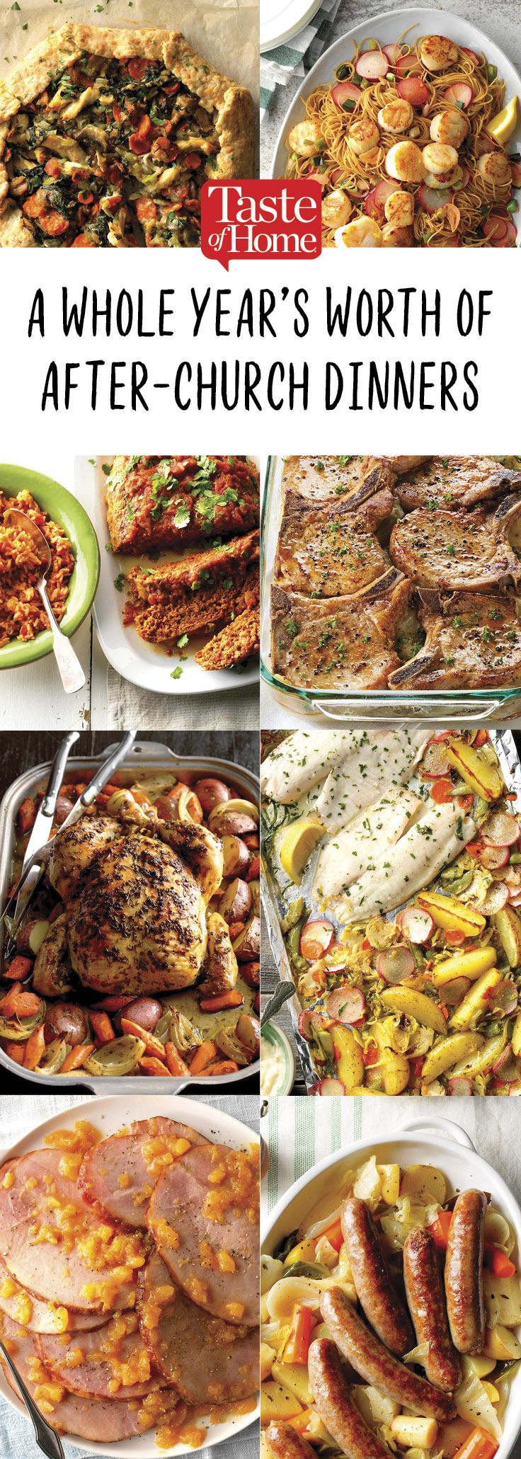 A Year S Worth Of After Church Dinners Sunday Dinner Recipes Easy Sunday Dinner Sunday Family Dinner Ideas