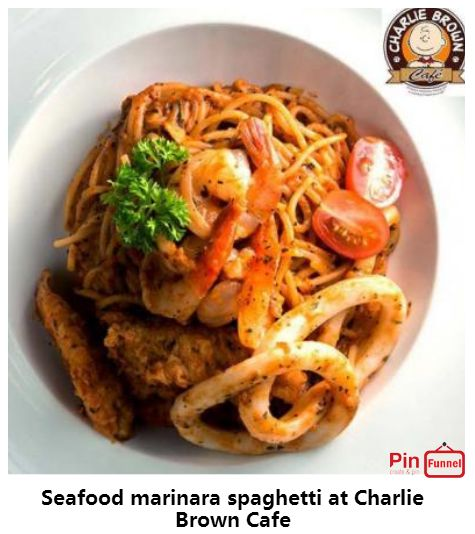 Seafood marinara spaghetti specials deal 2018 at Charlie Brown Cafe, Orchard Road, Singapore, the best comics themed cafe at Cathay Cineleisure Orchard. It is   Singapore MUIS Halal certified restaurant and cafe.