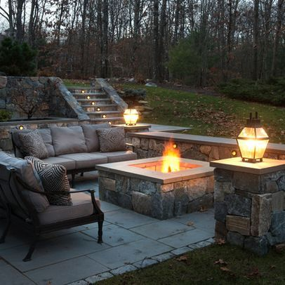 Backyard patio setup - love that firepit