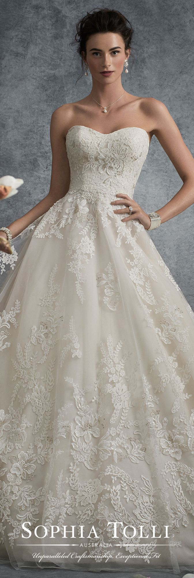 Strapless lace and tulle full A-line wedding dress - Sophia Tolli Y21753