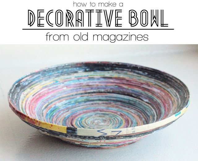 A decorative bowl made from old magazines. Been looking for things to do with old magazines for a long time and this is one of my favourites!