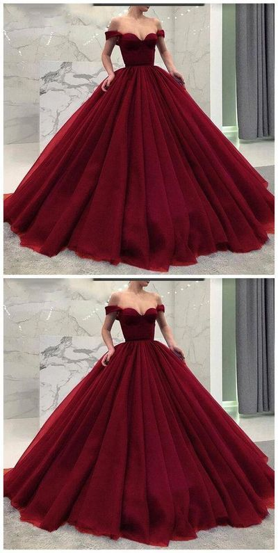 Burgundy Prom Dress,Ball Gown Wine Red Long Prom Dresses from meetdresse