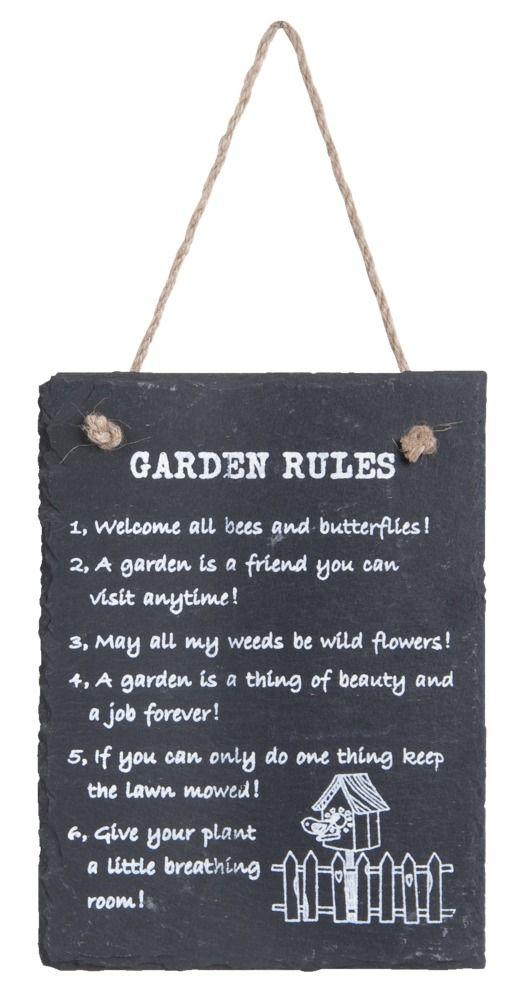 Decoratiebord Garden Rules: je tuin is pas helemaal af met deze Garden Rules